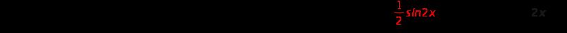 integral sin squared x space d x equals \integral open parentheses 1 half open parentheses 1 minus cos 2 x close parentheses close parentheses d x space equals 1 half space \integral 1 space d x minus 1 half \integral cos 2 x d x equals 1 half times x minus 1 half times 1 half s i n 2 x plus C equals bold 1 over bold 2 bold italic x bold minus bold 1 over bold 4 bold italic s bold italic i bold italic n bold 2 bold italic x bold plus bold italic C